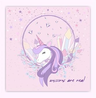 Hermosa cabeza de unicornio y la inscripción será única.