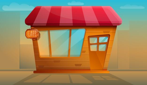 Hermosa cafetería vieja noche de trabajo, ilustración vectorial