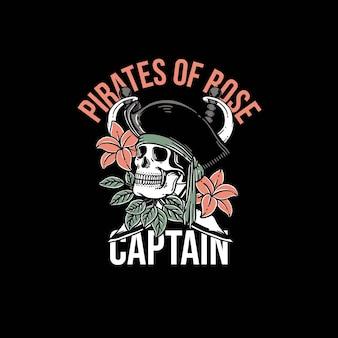 Hermosa calavera piratas y flor plantilla vector premium