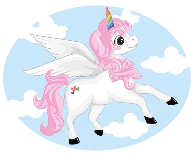 Hermosa caricatura de unicornio en una nube.