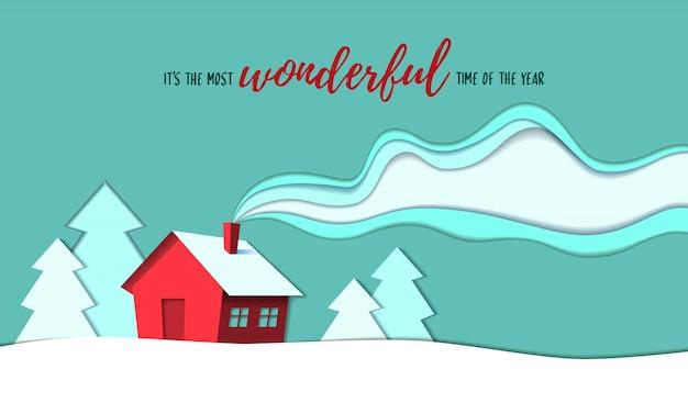 Hermosa casa de estilo rural en la temporada de invierno papel cortado estilo ilustración de fondo.