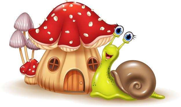 Hermosa casa de setas y dibujos animados de caracol feliz