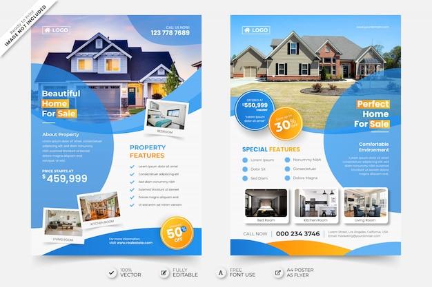 Hermosa casa en venta plantilla de póster de volante de bienes raíces con foto