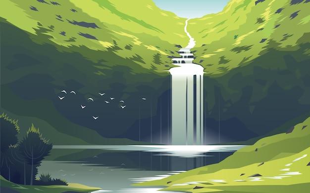 Hermosa cascada en el lago en la naturaleza salvaje.
