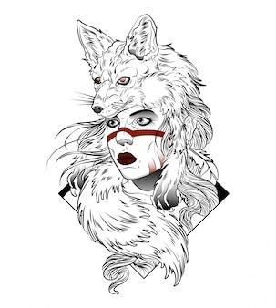 Hermosa cazadora con un zorro en la cabeza