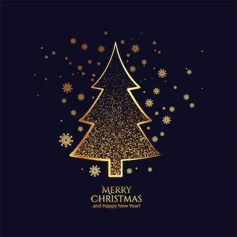 Hermosa celebración de tarjeta dorada de árbol de navidad