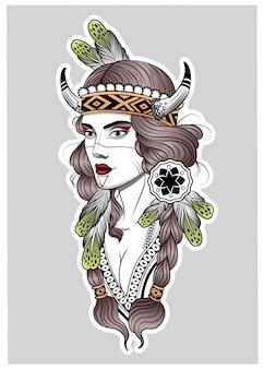 Hermosa chica cazadora en estilo boho