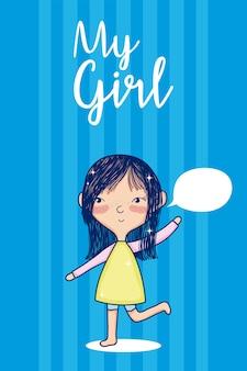 Hermosa chica con dibujos animados en blanco burbuja discurso lindo