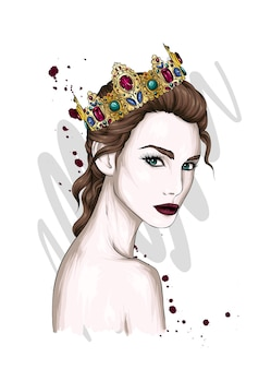 Hermosa chica en una corona