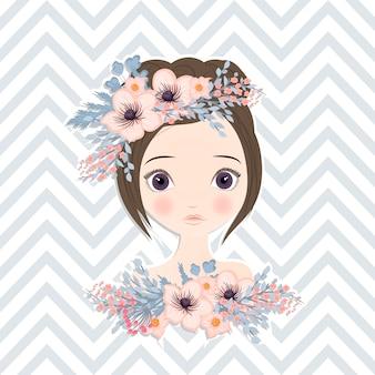 Hermosa chica con delicadas flores en el pelo.