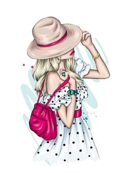 Hermosa chica en un elegante vestido de verano y un sombrero. ilustración de vector de cartel, impresión en ropa. estilo de moda.