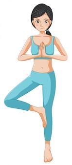 Una hermosa chica haciendo yoga