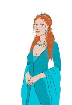 Hermosa chica del harén turco con un vestido nacional de la época del imperio otomano. la mujer es la esposa del sultán, roxolana, hurrem sultan. ilustración aislada