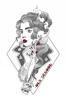 Hermosa chica hippie fuma un cigarrillo