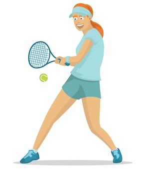 Hermosa chica jugando tenis