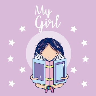 Hermosa chica leyendo un libro de dibujos animados con lindas estrellas