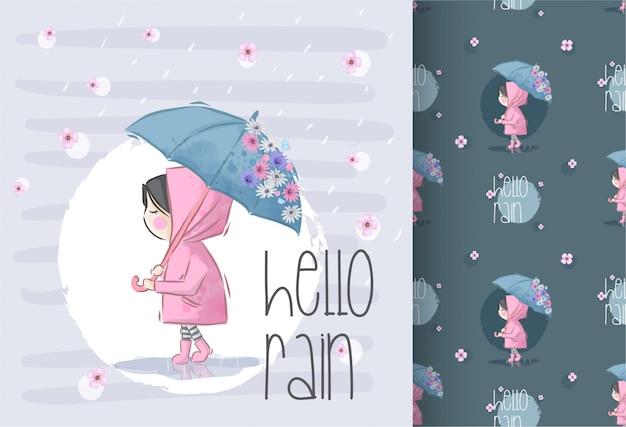 Hermosa chica bajo la lluvia con patrones sin fisuras de flores
