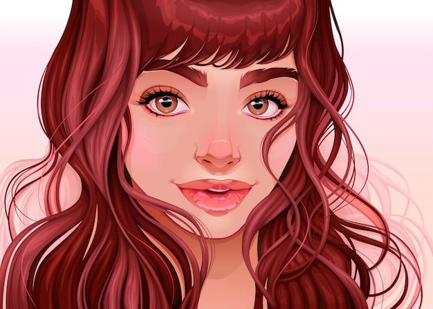 Hermosa chica mirando al espectador, ilustración vectorial