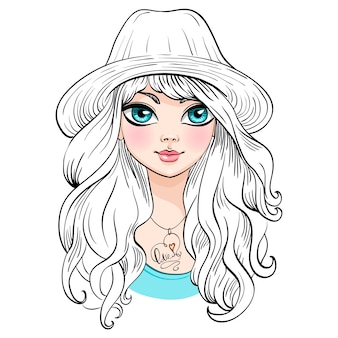Hermosa chica de moda con sombrero