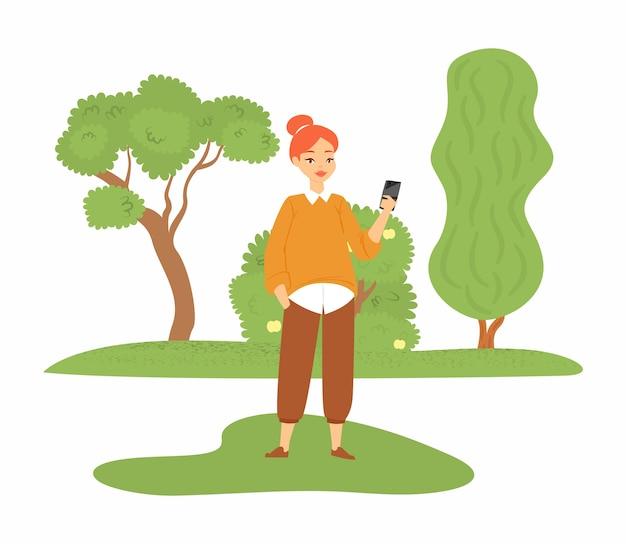 Hermosa chica mostrando nuevo teléfono inteligente, mujer joven, dama feliz, en blanco, ilustración. gadget social inteligente moderno, usando un dispositivo en línea, recibiendo medios.