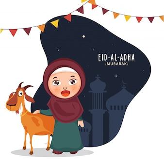 Hermosa chica musulmana con dibujos animados de cabra y banderas del empavesado sobre fondo abstracto silueta mezquita para la celebración de eid-al-adha mubarak.