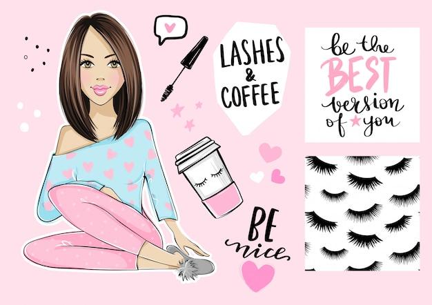 Hermosa chica, patrones sin fisuras con pestañas, cartel con cita inspiradora, rimel y taza de café de papel.