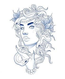 Hermosa chica con un peinado de serpiente