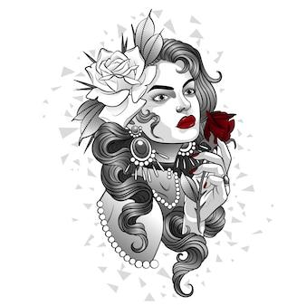 Hermosa chica con una rosa roja brillante en su mano