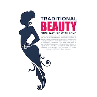 Hermosa chica en vestido floral, para su logo, etiqueta, emblema