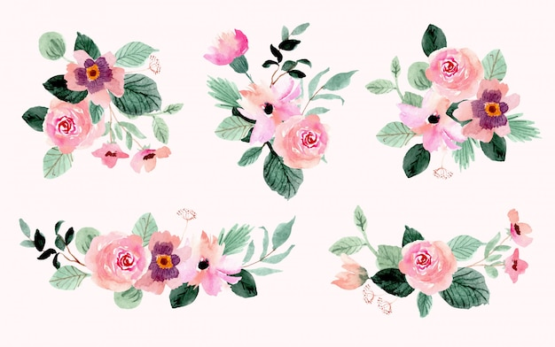 Hermosa colección de acuarela ramo de flores