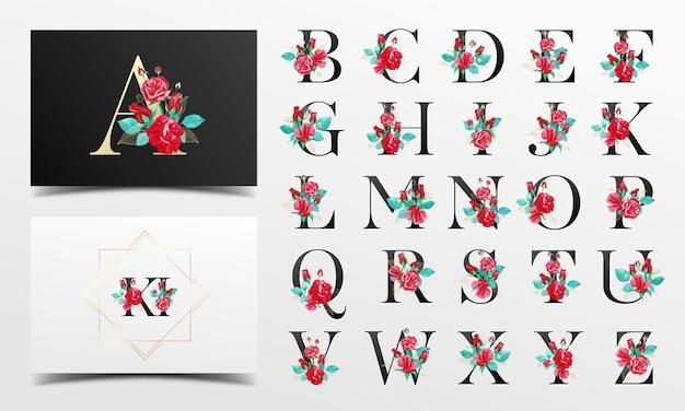Hermosa colección de alfabeto con decoración floral acuarela roja
