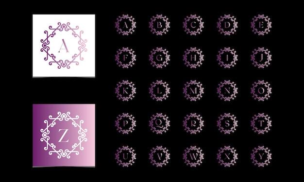 Hermosa colección de alfabeto decorada con adornos estilo degradado vector gratuito premium vectoprint
