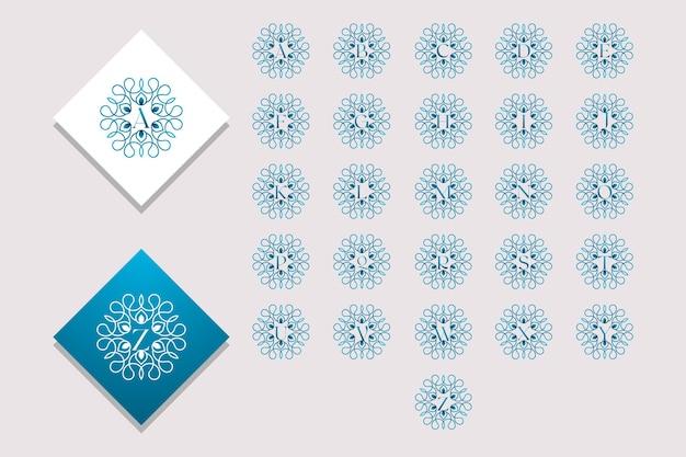 Hermosa colección de alfabeto decorada con adornos estilo degradado vector libre vector premium