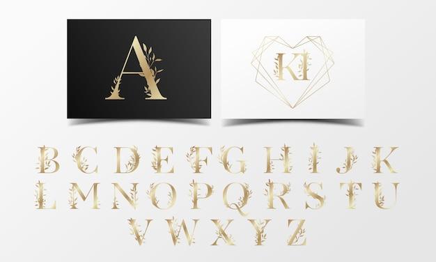 Hermosa colección de alfabeto dorado