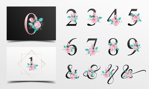 Hermosa colección de alfabeto nunber con decoración floral acuarela