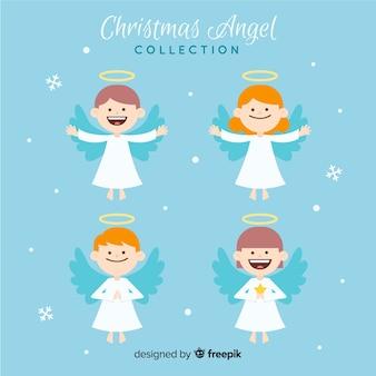 Hermosa colección de ángeles de navidad flat