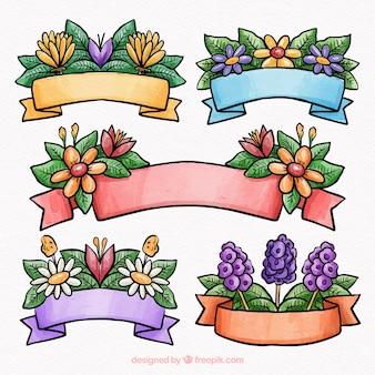 Hermosa colección de cintas de acuarela de primavera