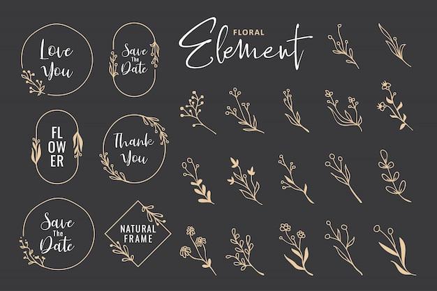 Hermosa colección de corona floral dibujada a mano