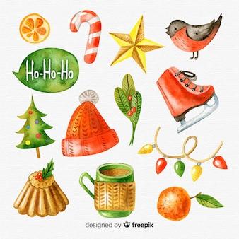 Hermosa colección de elementos de acuarela de navidad