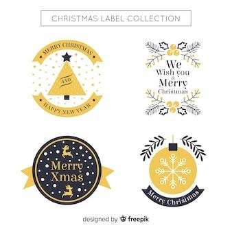 Hermosa colección de etiquetas de navidad negras y doradas