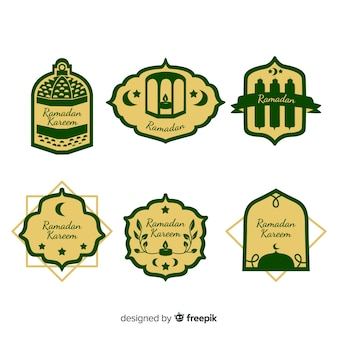 Hermosa colección de etiquetas para ramadán