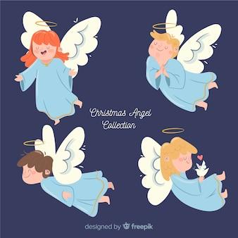 Hermosa colección flat de ángeles de navidad