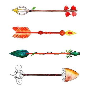 Hermosa colección de flechas de acuarela
