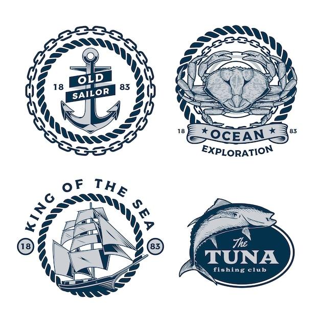 Hermosa colección de ilustraciones de logotipos náuticos
