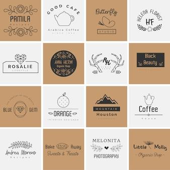 Hermosa colección de logotipos para fotografía, decoración y planificación.