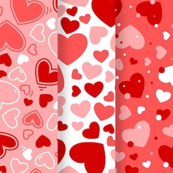 Hermosa colección de patrones con corazones.