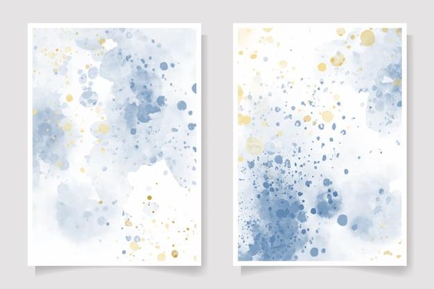 Hermosa colección de salpicaduras de acuarela azul marino y dorado