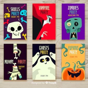 Hermosa colección de tarjetas de halloween