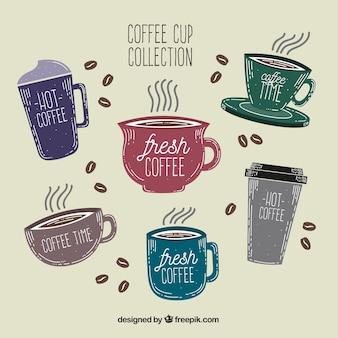 Hermosa colección de tazas de café dibujados a mano