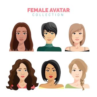 Hermosa colección de vectores de avatar femenino